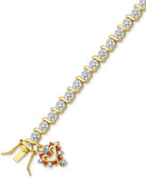Macy's Diamond Accent & Synthetic Red Corundum Heart Charm S-Link Bracelet in 18k Gold over Fine Silver Plate