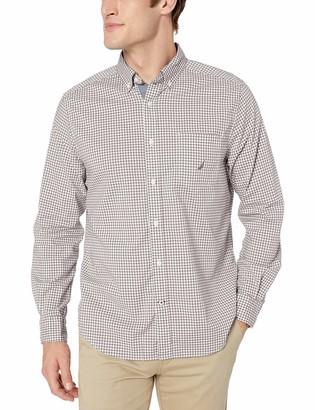 Nautica Men's Long Sleeve Gingham Stretch Cotton Button Down Shirt