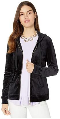 Lilly Pulitzer Larina Velour Zip-Up Hoodie (Onyx) Women's Clothing