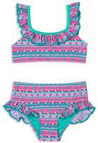 Hula Star Girls' Printed High-Waisted 2-Piece Swimsuit - Little Kid