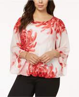 Alfani Plus Size Printed Angel-Sleeve Top, Created for Macy's