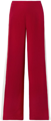 Adam Lippes Striped Silk-crepe Wide-leg Pants