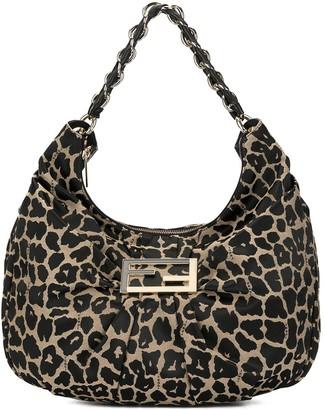 Fendi Pre Owned Leopard Print Small Hobo Bag