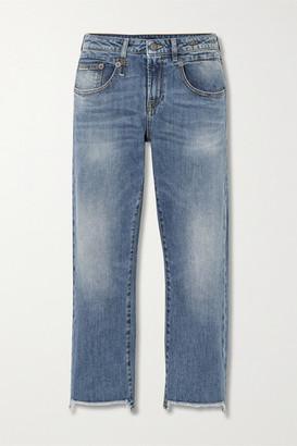 R 13 Boy Straight Cropped Frayed Mid-rise Straight-leg Jeans - Mid denim