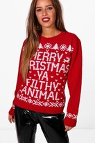 boohoo Petite Eve Merry Christmas Ya Filfy Animal Jumper
