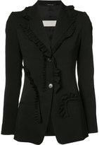 Maison Margiela ruffle trim blazer - women - Silk/Spandex/Elastane/Viscose - 40