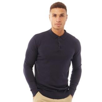 Brave Soul Mens Placket Long Sleeve Knitted Collar Jumper Midnight Navy