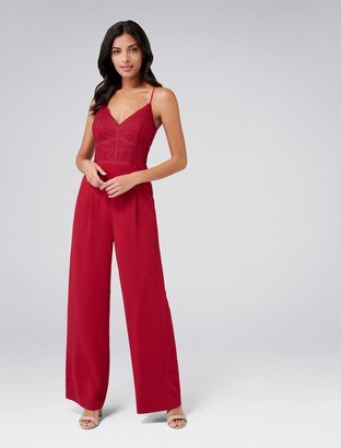 Forever New Celine Petite Lace Bodice Jumpsuit - Red - 4