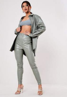 Missguided Green Croc Faux Leather Pants