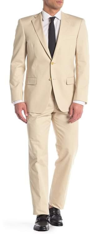 Hart Schaffner Marx Light Tan Solid Two Button Notch Lapel Suit
