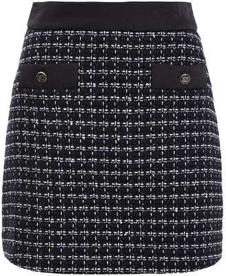 Sandro Button-embellished Metallic Tweed Mini Skirt