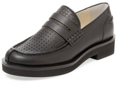 Jil Sander Navy Perforated Leather Penny Loafer