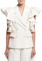 Co Ruffled Sleeveless Jacket, Ivory