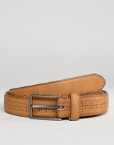 Asos Smart Belt In Tan Faux Leather