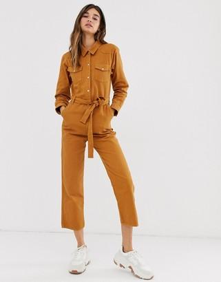 Monki tie waist organic cotton denim boilersuit in rust