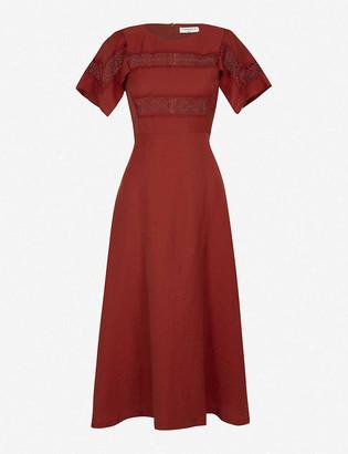 Sandro Benila lace-insert woven midi dress