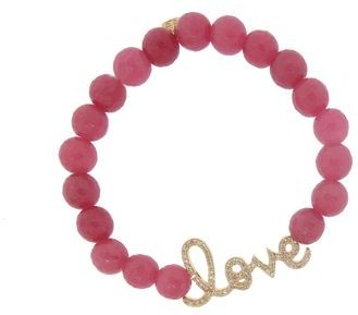 Sydney Evan Love Script Bracelet in Yellow Gold on Pink Jade