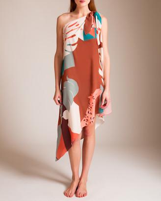 Adriana Degreas Tropiques Silk One Shoulder Dress
