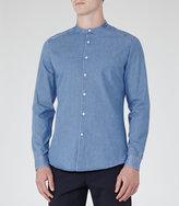 Reiss Atom Grandad Collar Denim Shirt