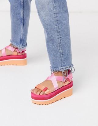 Tommy Jeans colour pop flatform sandals in pink