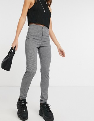 Only legging with zip in micro-check print