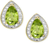 Macy's Peridot (9/10 ct. t.w.) and Diamond Accent Stud Earrings in 18k Gold-Plated Sterling Silver