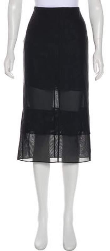 Thierry Mugler Midi Tiered Skirt w/ Tags Black Midi Tiered Skirt w/ Tags