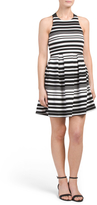 Juniors Striped Elastic Strap Fit And Flare Dress