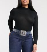 Asos DESIGN Curve clear rhinestone buckle waist belt