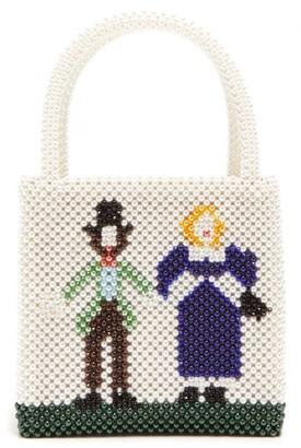 Shrimps Goodman Faux Pearl-embellished Handbag - Cream Multi