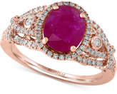 Effy Rosa Ruby (1-1/5 ct. t.w.) and Diamond (1/2 ct. t.w.) Ring in 14k Rose Gold