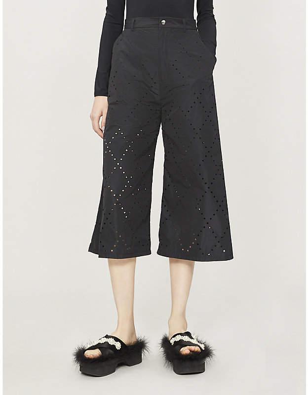 Noir Kei Ninomiya Moncler Genius x cropped high-rise wide shell trousers