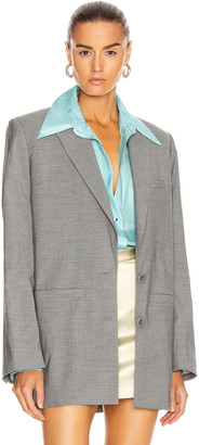 GAUGE81 Open Back Blazer in Grey Melange | FWRD