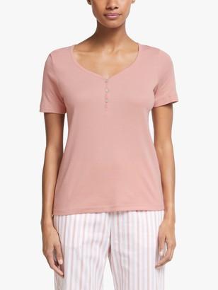 John Lewis & Partners Ribbed Henley Short Sleeve Pyjama Top, Pale Pink