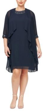 SL Fashions Plus Size Embellished Dress & Jacket