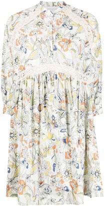 Ermanno Scervino Floral-Print Lace-Insert Dress