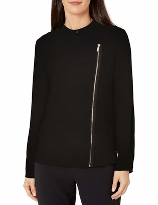 A|X Armani Exchange Women's Side Zipper Blouse with Cropped Sleeves