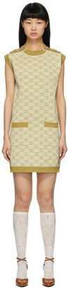 Gucci Gold and Beige Wool GG Short Dress