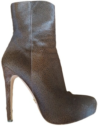 Prada Brown Pony-style calfskin Ankle boots