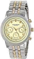 Akribos XXIV Women's AK722TTG Swiss Quartz Movement Watch with Yellow Gold Dial and Two Tone Bracelet