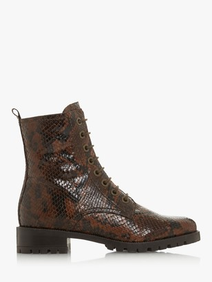 Dune Prestone Leather Cleated Sole Lace-Up Hiker Boots, Brown Reptile Print