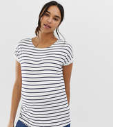 Asos Nursing DESIGN Maternity nursing t-shirt with crew neck and double layer in stripe