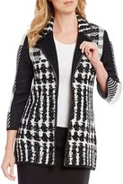 Ming Wang Faux Leather Trim Houndstooth Jacket