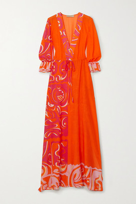 Emilio Pucci Printed Cotton And Silk-blend Chiffon Maxi Dress - Orange