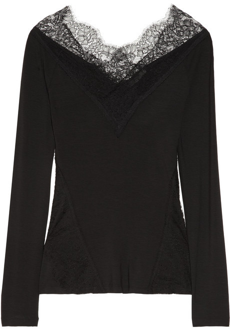 Donna Karan Lace-trimmed stretch-jersey top