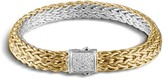 John Hardy Classic Chain 7.5MM Reversible Bracelet, Silver, 18K, Diam