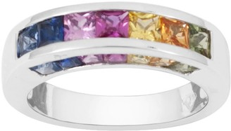 Rakam Jewellery Multi-Colour Band In 9K White Gold