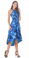 Carmen Marc Valvo Print High Low Halter Cocktail Dress