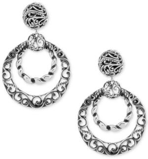 Carolyn Pollack Filigree Gypsy Hoop Earrings in Sterling Silver