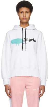 Palm Angels White Ibiza Sprayed Logo Hoodie